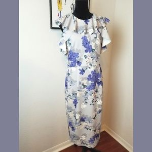ASOS Floral Sleeveless Ruffle Midi Dress Sz 10